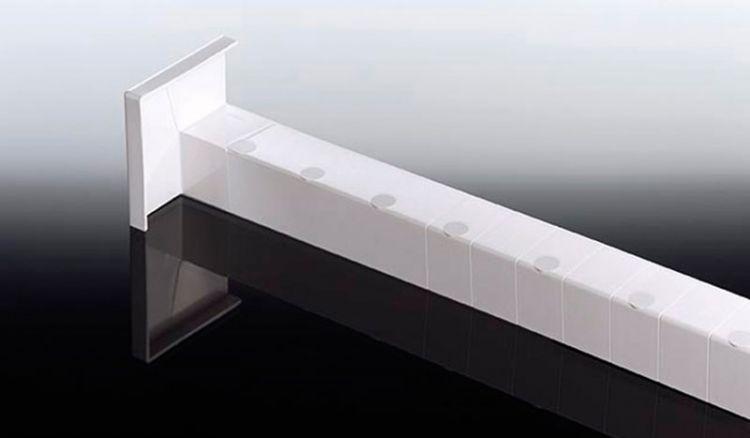 Das weiße Inneneckstück für Heering 9 mm Winkelprofile hat eine Länge von 500 - Zuschnitte müssen bauseits erfolgen