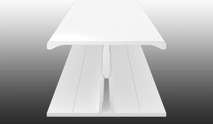 2-teiliges H-Profil aus wetterfestem PVC-Kunststoff zum Verbinden zweier Kunststoffpaneele