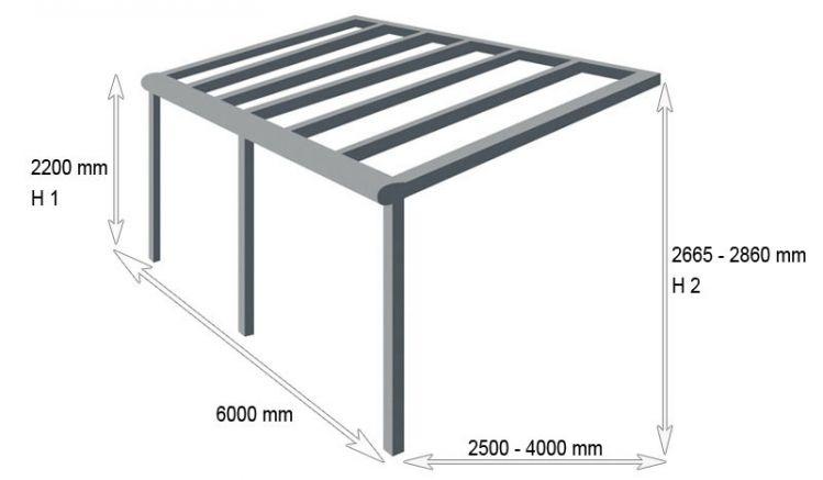 Attraktiver Wetterschutz: Die 6000 mm breite Alu Terrassenüberdachung Golden L ist in sieben verschiedenen Designs erhältlich