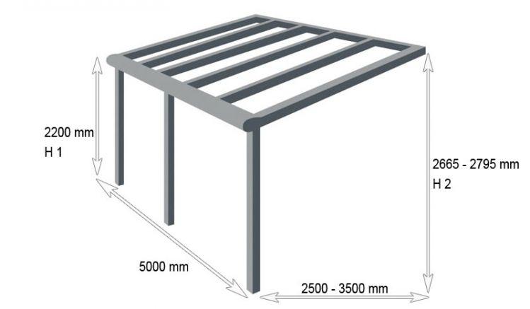 Unser Besteller der Silver-Linie: Terrassenüberdachung aus pulverbeschichtetem Aluminium mit 5 m Breite. Gibt es in Reinweiß und Anthrazit