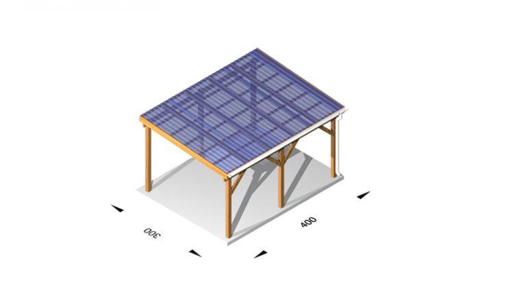 Günstige Terrassenüberdachung Leimholz /  Holz (kdi), 4 x 3m, 11,5er Pfosten, inkl. Kunststoffbedachung und Kopfbänder