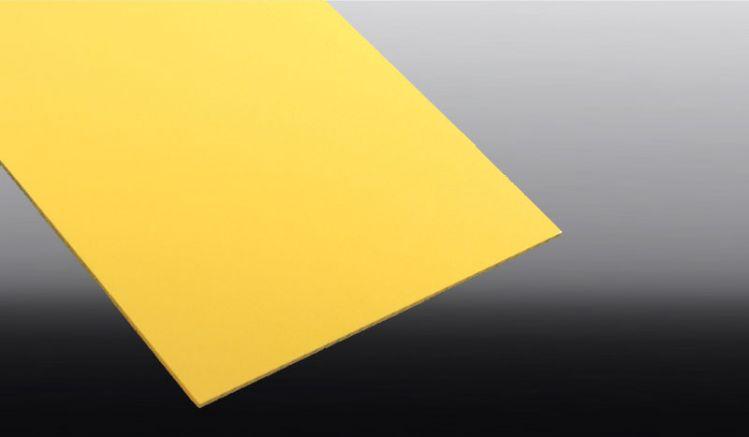 Die farbigen PVC Hartschaumplatten mit 3 mm Stärke haben eine Matt-Gelbe Oberflächenstruktur. Ideal für die Werbetechnik und den Messebau.