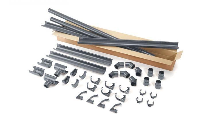 Bausatz bestehend aus Rinne und Zubehör in Grau - gefertigt aus wetterfestem PVC