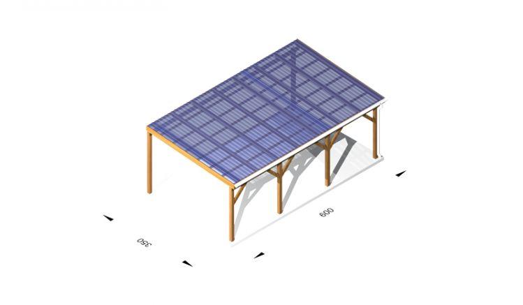 Terassendächer aus Holz (kdi) / Leimholz, 6 x 3,5m, 11,5er Pfosten, inkl. Kunststoffbedachung und Kopfbänder