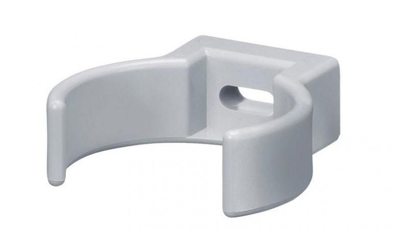 Die bruchsichere Clip-Rohrschelle aus Kunststoff für DN 75 Fallrohre ist in den Farben Grau, Braun und Weiß erhältlich