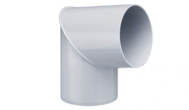 Unser 80° Rohrbogen DN 75 für die Inefa Fallrohre ist in den Farben Weiß, Braun und Grau erhältlich