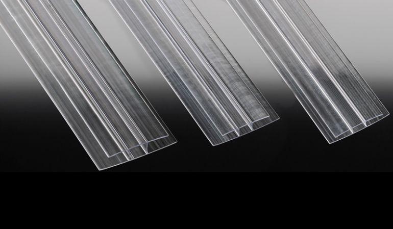 Fast unsichtbar verbunden: Glasklares Polycarbonat H-Profil für 6, 10 und 16 mm Stegplatten
