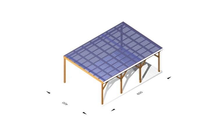 Terassendach - günstig - aus Holz (kdi) / Leimholz, 6 x 4m, 11,5er Pfosten, inkl. Kunststoffbedachung und Kopfbänder