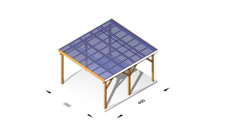 Terrassenüberdachung, günstig, aus Holz / Leimholz, 4 x 3,5m, 11,5er Pfosten, inkl. Kunststoffbedachung und Kopfbänder
