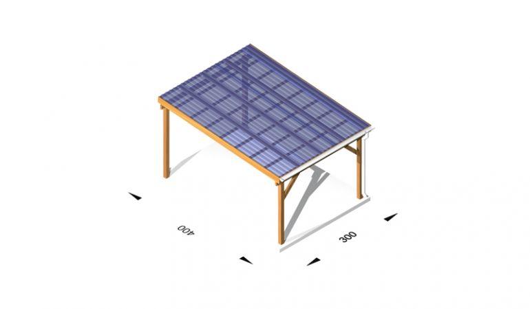 Überdachung für die Terrasse mit Stegplatten aus Leimholz /  Holz (kdi), 3 x 4m, 11,5er Pfosten, inkl. Kopfbänder
